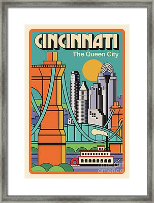 Vintage Style Cincinnati Travel Poster Framed Print by Jim Zahniser
