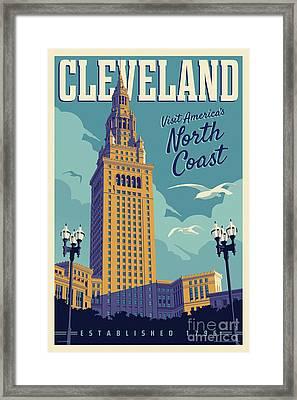 Vintage Style Cleveland Travel Poster Framed Print by Jim Zahniser