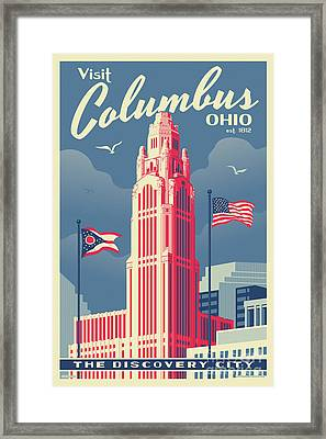 Vintage Style Columbus Travel Poster Framed Print
