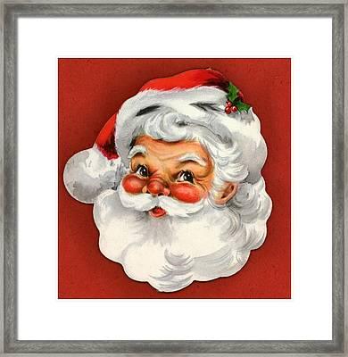 Vintage Style Of Santa Head Framed Print