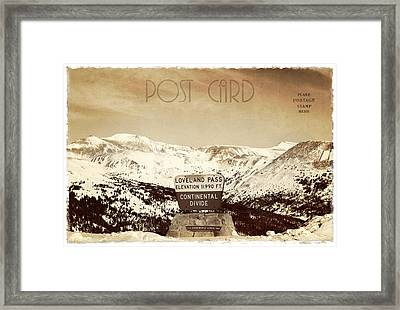 Vintage Style Post Card From Loveland Pass Framed Print by Juli Scalzi