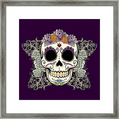 Vintage Sugar Skull And Flowers Framed Print