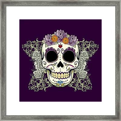 Vintage Sugar Skull And Flowers Framed Print by Tammy Wetzel