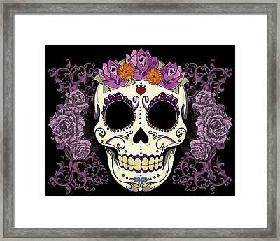Vintage Sugar Skull And Roses Framed Print
