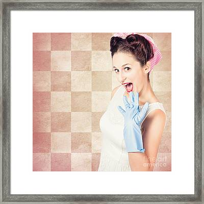 Vintage Surprised Pinup Woman Doing Housework Framed Print by Jorgo Photography - Wall Art Gallery