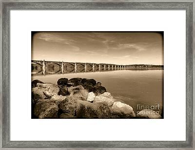 Vintage Susquehanna River Bridge Framed Print by Olivier Le Queinec