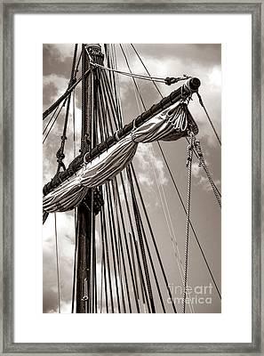 Vintage Tall Ship Rigging Framed Print