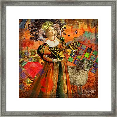 Vintage Taurus Gothic Whimsical Collage Woman Fantasy Framed Print