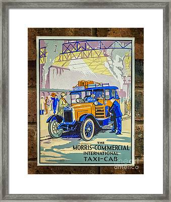 Vintage Taxi Sign Framed Print by Adrian Evans