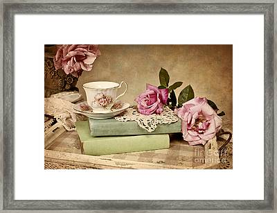 Vintage Tea Framed Print by Cheryl Davis