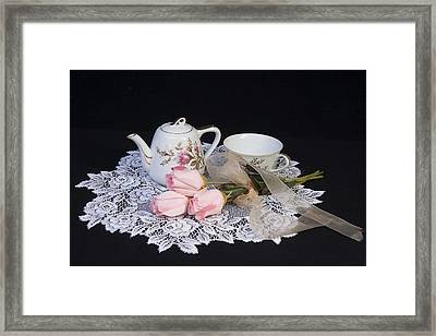Vintage Tea Set Framed Print by Trudy Wilkerson