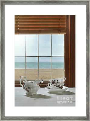 Vintage Teacups In The Window Framed Print