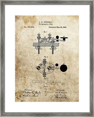 Vintage Telegraph Key Patent Framed Print