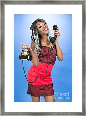 Vintage Telephone Framed Print by Amanda Elwell