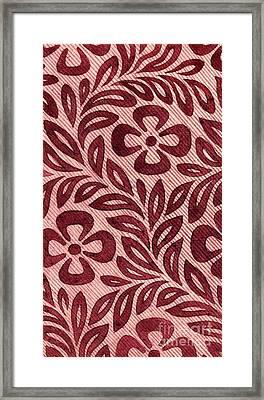 Vintage Textile Design With Flower Motif Framed Print by English School