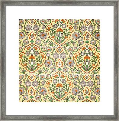 Vintage Textile Pattern Framed Print by Emile Prisse d'Avennes