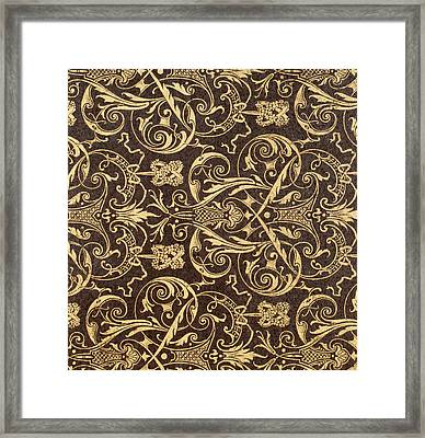 Vintage Textile Pattern Framed Print by French School