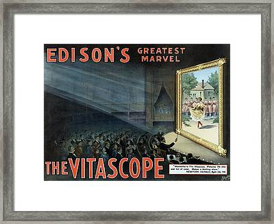 Vintage Thomas Edison Print - The Vitascope Framed Print by War Is Hell Store