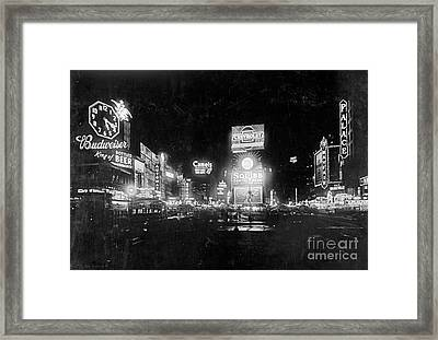 Framed Print featuring the photograph Vintage Times Square At Night Black And White by John Stephens