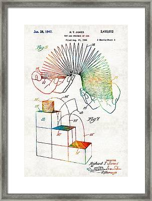 Vintage Toy Patent - Slinky - Sharon Cummings Framed Print by Sharon Cummings