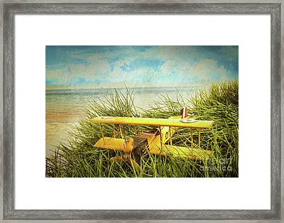 Vintage Toy Plane In Tall Grass At The Beach Framed Print by Sandra Cunningham