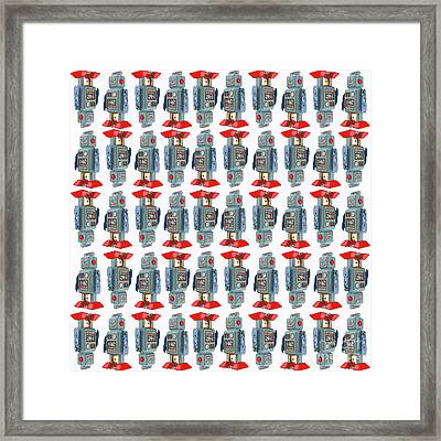 Framed Print featuring the digital art Vintage Toy Tin Robots Pattern by Edward Fielding