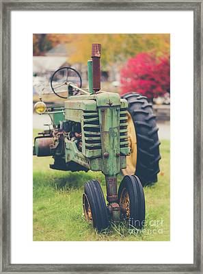 Vintage Tractor Autumn Framed Print by Edward Fielding
