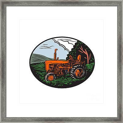 Vintage Tractor Farm Woodcut Framed Print by Aloysius Patrimonio