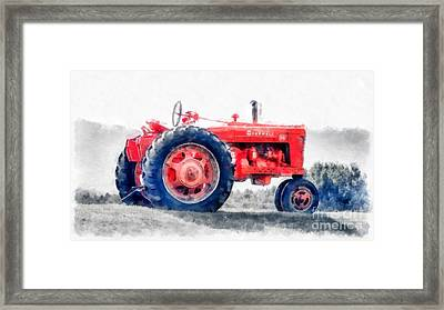 Vintage Tractor Watercolor Framed Print by Edward Fielding