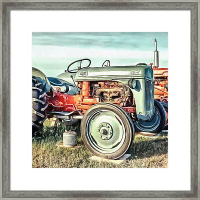 Vintage Tractors Pei Square Framed Print