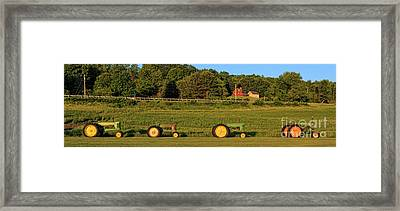 Vintage Tractors Sunset Panoramic Framed Print by Edward Fielding