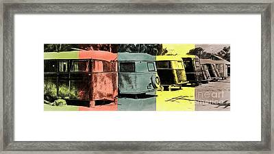 Framed Print featuring the painting Sarasota Series Vintage Trailer Park Pop Art by Edward Fielding