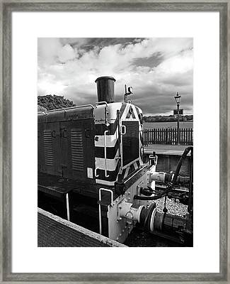 Vintage Train Buffers In Black And White Framed Print by Gill Billington
