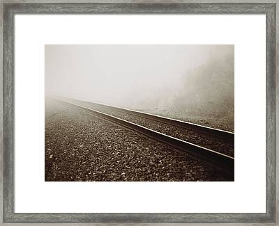 Vintage Train Tracks In Fog Framed Print