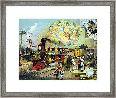 Vintage Transcontinental Railroad Framed Print by War Is Hell Store
