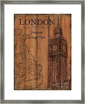 Vintage Travel London Framed Print by Debbie DeWitt