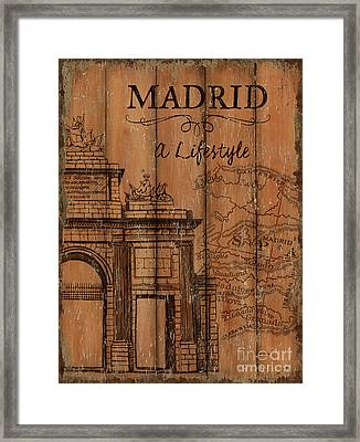 Vintage Travel Madrid Framed Print by Debbie DeWitt