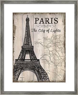 Vintage Travel Poster Paris Framed Print by Debbie DeWitt