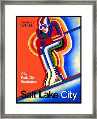 Vintage Travel Poster Salt Lake City Framed Print