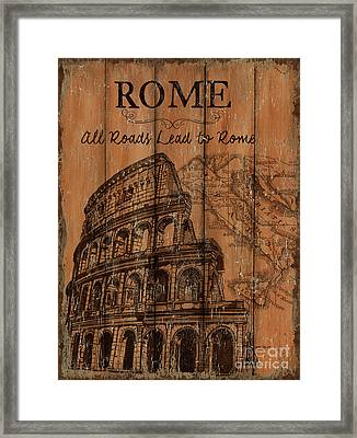 Framed Print featuring the painting Vintage Travel Rome by Debbie DeWitt