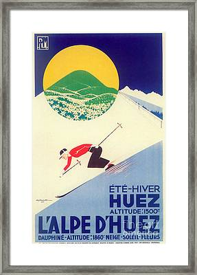 Vintage Travel Skiing Framed Print by Mindy Sommers