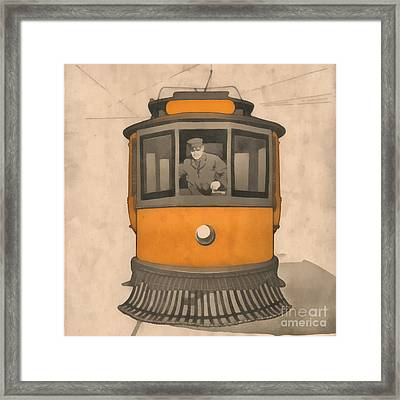 Vintage Trolley Square Framed Print by Edward Fielding