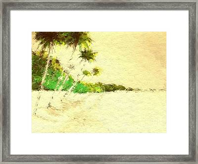 Vintage Tropical Beach Framed Print by Anthony Fishburne