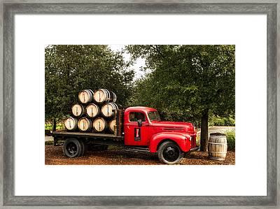 Vintage Truck With Wine Barrels Framed Print