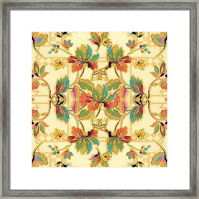 Framed Print featuring the digital art Vintage Turquoise Orange Floral Wallpaper Pattern by Tracie Kaska
