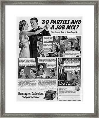 Vintage Typewriter Advertsement Framed Print