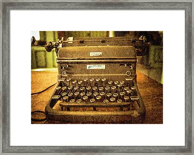 Vintage Typewriter Framed Print by Cynthia Wolfe