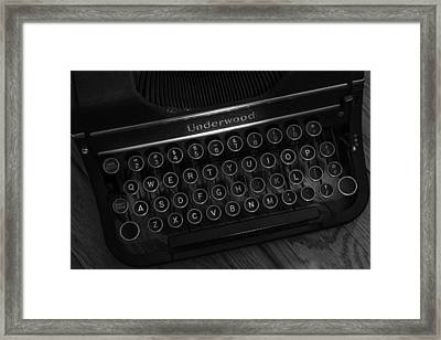 Vintage Underwood Typewriter Black And White Framed Print by Terry DeLuco