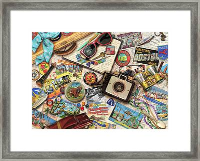 Vintage Usa Travel Framed Print by Aimee Stewart