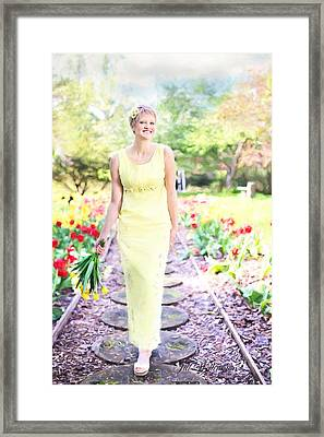 Vintage Val In Tulips Framed Print